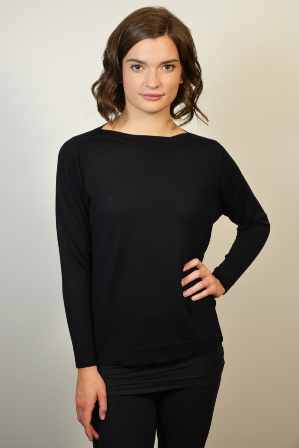 womens-black-boat-neck-sweater